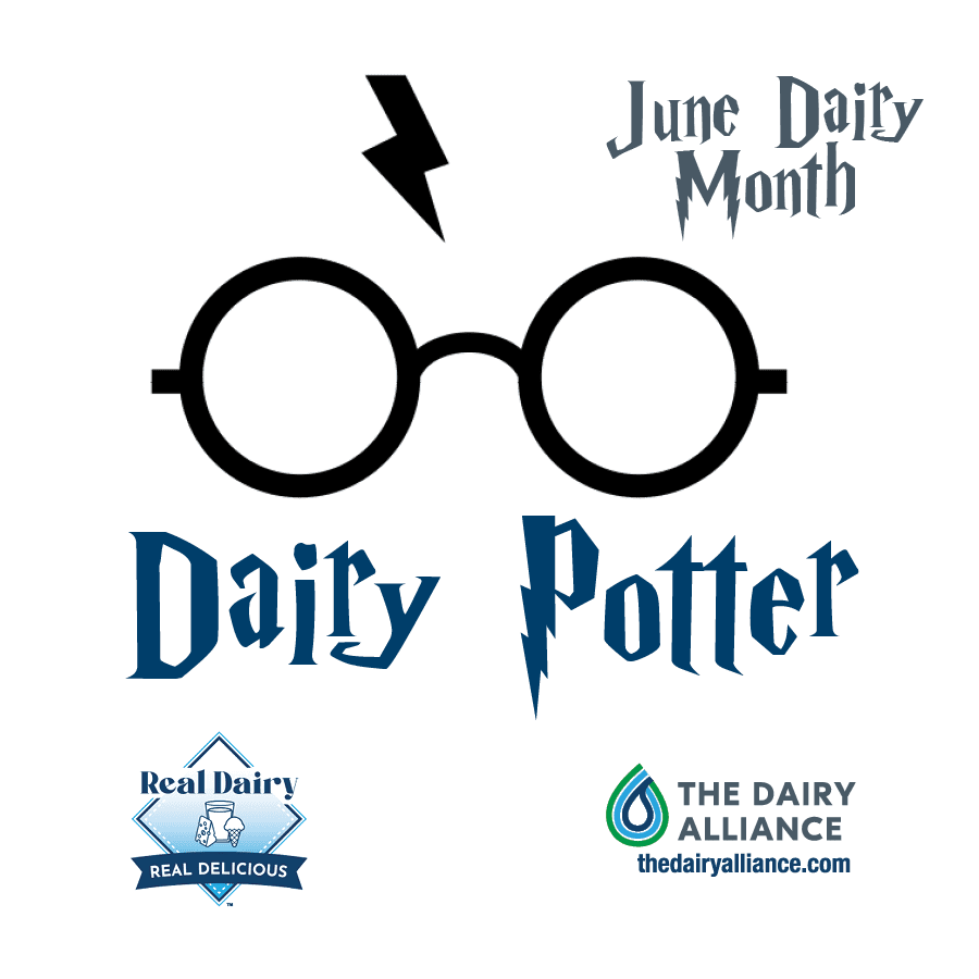 Dairy Potter image with glasses and lightening bolt for 2021 June Dairy Month Theme