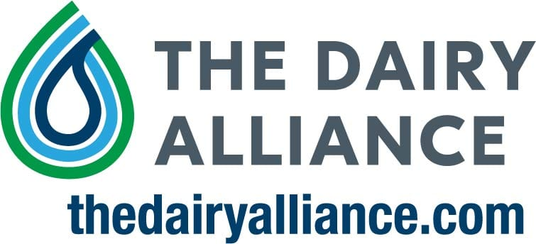 Logo for the Dairy Alliance in green and blue with web address